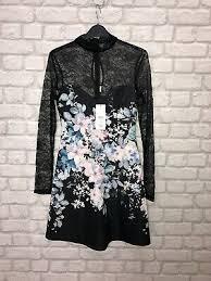 printed skate dress size 8 black fl