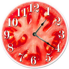 Amazon Com Sugar Vine Art 12 Red Tomato Vegetable Clock Large 12 Inch Wall Clock Printed Decal Image Home Kitchen