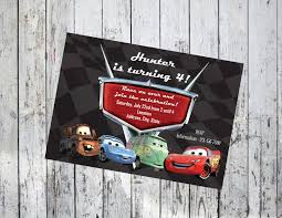 Cars Birthday Party Invitations Etsy