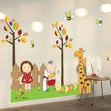 Trees Giraffe Boy Gril Wall Decal Home Sticker Paper Removable Art Picture Murals Diy Stick Kids Nursery Kids Room Wall Decals Baby Wall Stickers Art Wall Kids