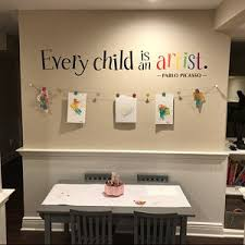 Every Child Is An Artist Decal Children Artwork Display Decal Picasso Quote Wall Sticker Printed Wall Decal In 2020 Displaying Kids Artwork Artwork Display Kids Artwork