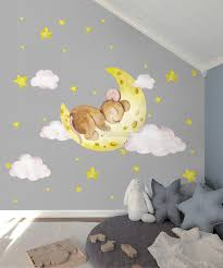 Kids Cute Mouse On The Crescent Moon And Watercolor Yellow Stars Wall Decal Sticker Wall Decals Wallmur