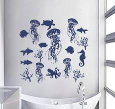 Fish Wall Decal Water Decal Jellyfish Stickers Sea Wall Decal Etsy