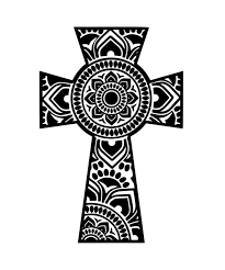 Mandala Cross Window Decal Etsy