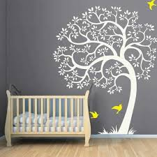 Amazon Com Tree Wall Decal Huge Tree Vinyl Wall Decal Nursery Tree And Birds Baby Room Living Room Decor White Light Yellow Xl Home Kitchen