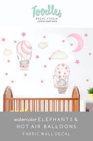 Girls Pink Hot Air Balloon Decals Moon And Stars Fabric Wall Stickers Baby Elephant Decor Watercolor Art Id Fabric Wall Elephant Decor Fabric Wall Decals