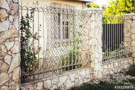 Metal Decorative Fence With Door And Gate Of Modern Style Design Metal Fence Ideas Buy This Stock Photo And Explore Similar Images At Adobe Stock Adobe Stock
