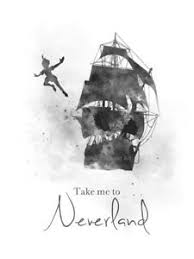 Art Print Peter Pan Quote Neverland Jolly Roger Nursery Wall Art Gift B W Ebay
