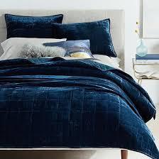 lush velvet quilt shams regal blue