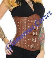 leather corset brown steel boned