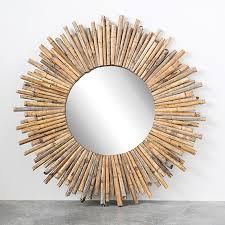 sunburst style bamboo mirror antique