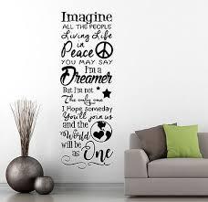 Imagine By John Lennon Music Lyrics Wall Art Premium Vinyl Decal Beatles Ebay