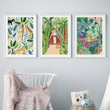 Cute Tropical Jungle Animal Art Print Set For Kids Bedroom Gallery Wallrus Free Worldwide Shipping
