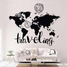 World Map Wall Decal Stickers Home Decor Living Room Traveling Vinyl Sticker Bedroom Compass Hot Air Balloon Art Mural Z681 Wall Stickers Aliexpress