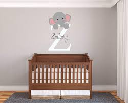 Amazon Com Personalized Name Initial Elephant Prime Series Baby Girl Boy Nursery Wall Decal For Baby Room Decorations Mural Wall Decal Sticker For Home Children S Bedroom Mm95 Wide 17 X29 Height
