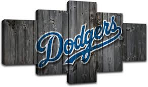 Amazon Com Miauen Los Angeles Dodgers Wall Art Canvas Prints Baseball Team Posters With Frame Pictures Painting Wall Decor Decoration Ready To Hang 60 Wx32 H Posters Prints