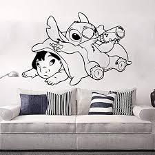 Amazon Com Miseda Wall Art Stickers Quotes And Sayings Stitch Decal Stitch Sticker Large Ohana Lilo And Stitch Kids Room Cartoon Anime Stitch Playroom Decor Home Kitchen