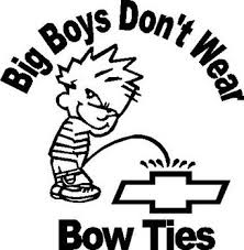 Big Boys Don T Wear Bow Ties Calvin Peeing On Chevy Vinyl Decal Sticker