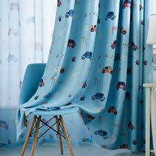 Cartoon Cars Voile Blackout Curtains For Kids Room Window Curtains Tulle Sheer P