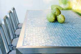 glass tile kitchen countertop with