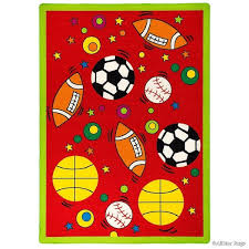 Shop Allstar Rugs Kids Baby Room Area Rug Sports Football Basketball Soccer And Baseball Bright Colors 4 11 X 6 11 Overstock 11530699