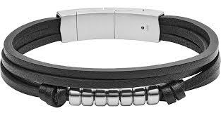 multi strand black leather bracelet