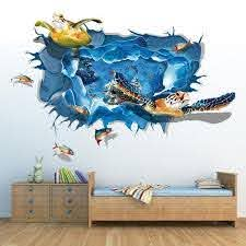 3d Removable Sea Turtle Wall Sticker Wall Stickers Bedroom Removable Wall Art Decals Wall Decor Stickers
