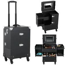 rolling makeup case with 6 trays