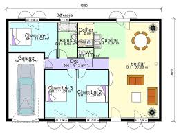 maison avec 3 chambres salon cuisine