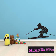 Skiing St012 Sports Icon Wall Mural Vinyl Wall Decal Sticker Swd