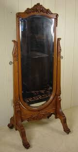 carved oak cheval mirror