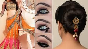 lehenga style saree d with makeup