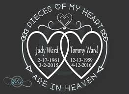 In Loving Memory Of Memorial Vinyl Personalized Car Decal Pieces Of My Heart Are In Heaven Loving Memory Car Decals Memorial Decals Car Decals