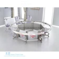 round glass metal fancy dining table