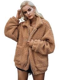 faux fur coat women teddy bear coat