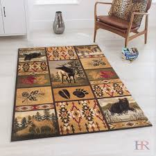 Handcraft Rugs Southwestern Geomettic Rug For Cabin Design Contains Deer Bear Nature And More Multi Color Walmart Com Walmart Com