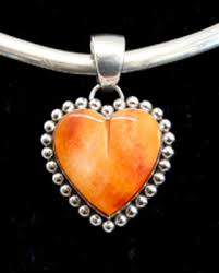 spiny oyster heart and sterling silver
