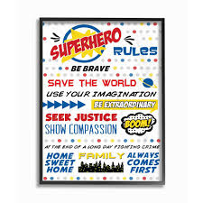 The Kids Room By Stupell 16 In X 20 In Comic Book Dots Super Hero Rules Typography By Anna Quach Printed Framed Wall Art Brp 2216 Fr 16x20 The Home Depot