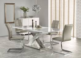 white high gloss grey glass dining table