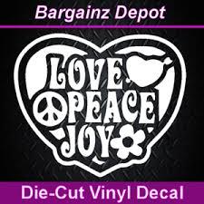 Vinyl Decal Love Peace Joy Heart Flower Hippie Car Laptop Decal Sticker 5 Ebay