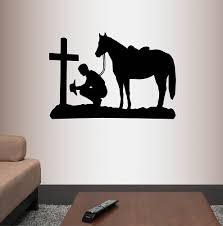 Millwood Pines Cowboy Praying Kneeling Cross Horse Wall Decal Wayfair