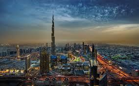 تحميل خلفيات برج خليفة 4k دبي مساء المدينة الإمارات العربية