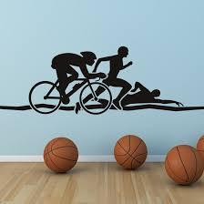 Triathlon Athletics Wall Art Sticker Wall Decals Transfers Decal Wall Art Sticker Wall Art Sticker Art