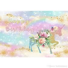 الملونة قوس قزح الذهب نجوم يونيكورن حزب خلفية مطبوعة الزهور