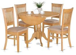 5 Piece Small Kitchen Table Set Drop Leaf Table And 4 Dinette Chairs Traditional Dining Sets By Bisonoffice