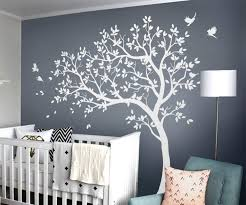 Amazon Com Large Tree Wall Decals Nursery Wall Tree Stickers With Birds Stunning Tree Wall Art Mural Vinyl Wall Decor Kw032 White Home Kitchen