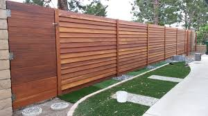 After 1x6 Modern Horizontal Stained Redwood Privacy Fence Woodfenceexpert Com