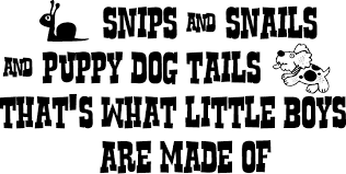 Snips Snails And Puppy Dog Tails Thats What Little Boys Are Made Of Vinyl Wall Decal Quote Vinyl Wall Decals Wall Decals