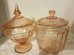 pink depression glass candy dish with