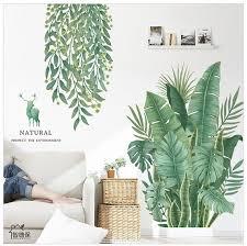 Fresh Banana Leaf Wall Sticker Green Plant Wall Decal Living Etsy